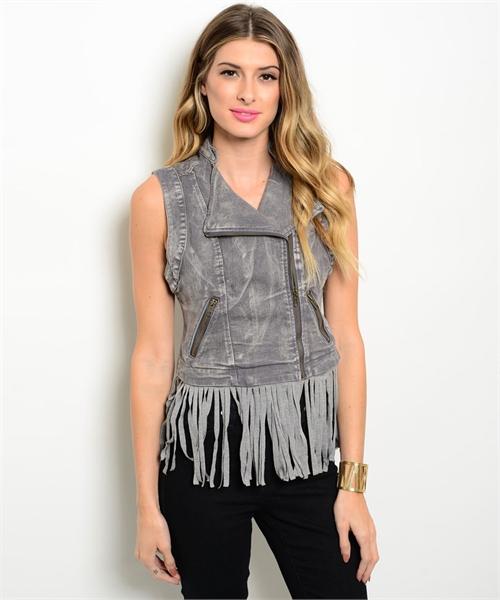 V grey Vest