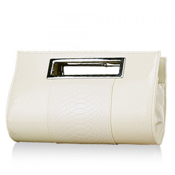 Elegant Women's Clutch Bag With Patent Leather and Crocodile Print Design