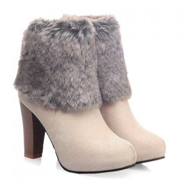 Gorgeous Women's High Heel Boots With Faux Fur and Suede Design