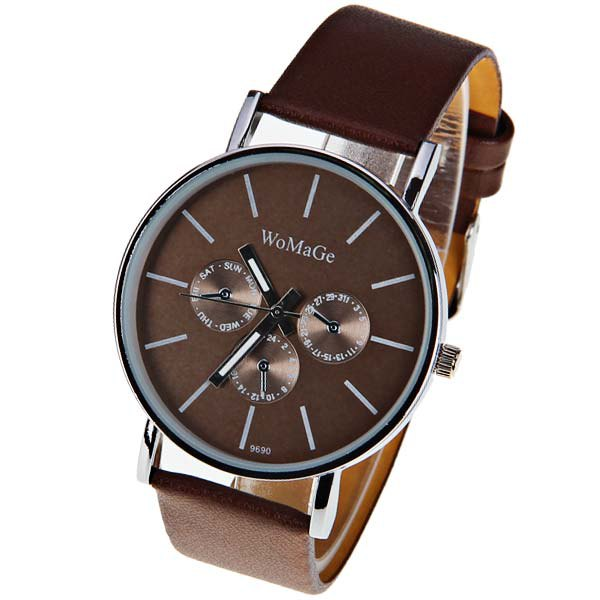 WoMaGe Quartz Watch with Strips Indicate Leather Watch Band for Men - Dark Brown