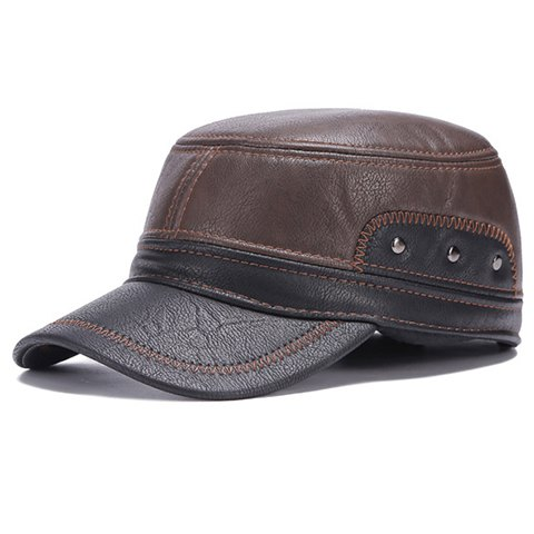 Fashionable Sewing Thread and Stud Embellished PU Military Hat For Men