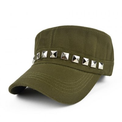 Chic Rivet Embellished Solid Color Military Hat For Women