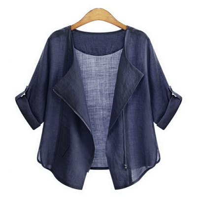 Fashionable 1/2 Sleeve Solid Color Blouse For Women