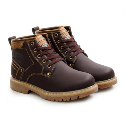 Preppy Letter Print and Stitching Design Men's Flat Boots