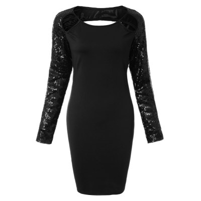 Sexy Jewel Neck Backless Sequined Long Sleeve Dress For Women