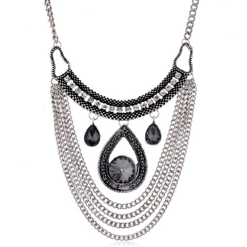 Retro Layered Tassels Waterdrop Faux Gemstone Necklace For Women