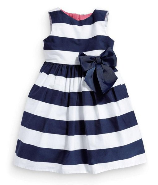 Sweet Sleeveless Round Neck Striped Bowknot Embellished A-Line Dress For Girls
