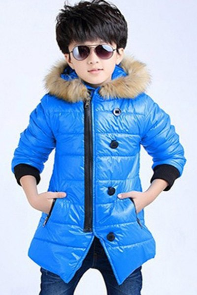 Stylish Long Sleeve Fur Hooded Zipper Fly Single-Breasted Oblique Angle Coat For Boys