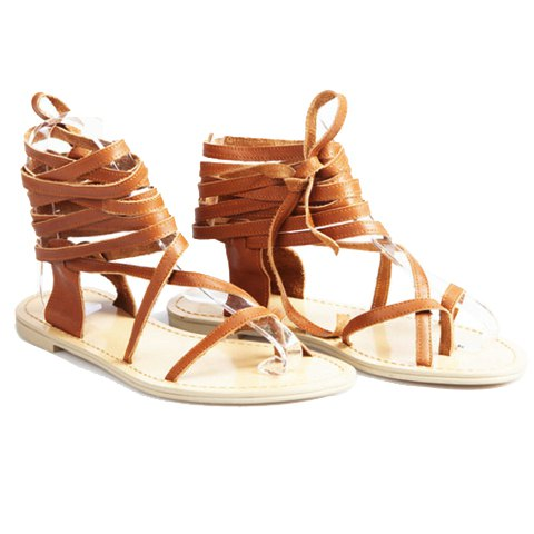 Rome Style Women's Sandals With Lace-Up and Flip Flop Design