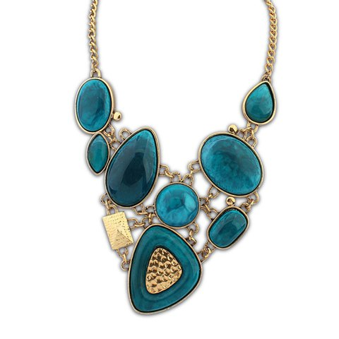 Exquisite Colored Geometric Pendant Alloy Necklace For Women