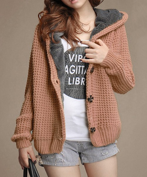 Casual Hooded Long Sleeve Flocky Single-Breasted Knitted Cardigan For Women