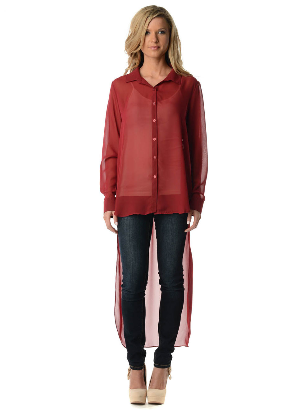 Burgundy Button Down Hi Lo Duster