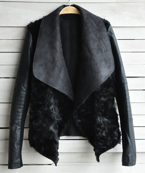 Stylish Turn-Down Neck Long Sleeve Spliced Jacket For Women