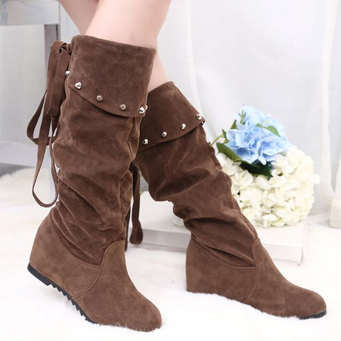 Trendy Women's Mid-Calf Boots With Rivet and Suede Design