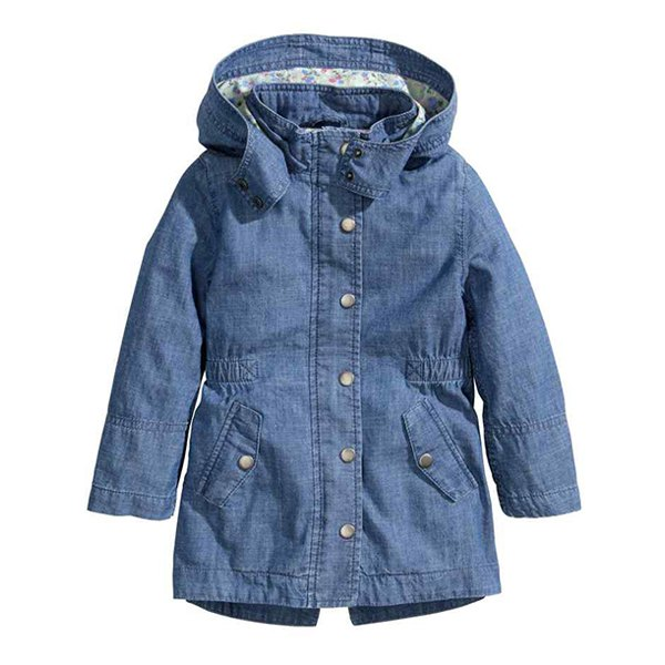 Stylish Long Sleeve Hooded Elastic Waist Denim Coat For Girls