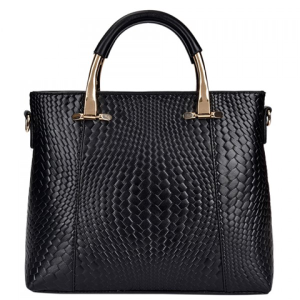 Fashionable Women's Tote Bag With Embossing and Metal Design