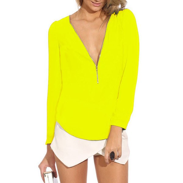 Stylish V-Neck Long Sleeve Zipper Design Chiffon Solid Color Blouse For Women
