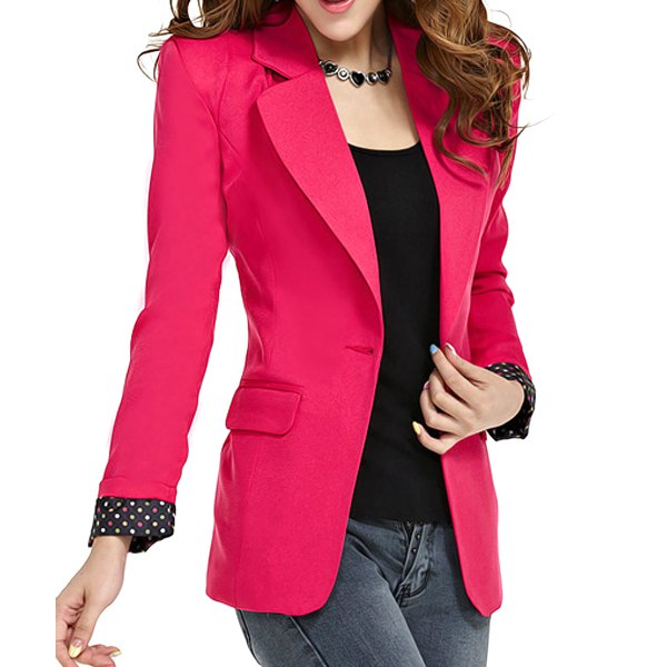 Fashionable Style Lapel Neck Long Sleeve Slimming One Button Polka Dot Blazer For Women