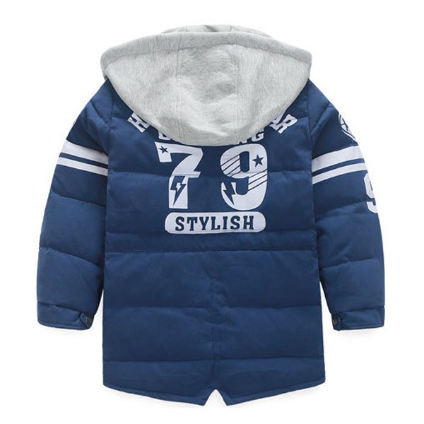 Stylish Hooded Drawstring Long Sleeve Color Block Down Coat For Boy