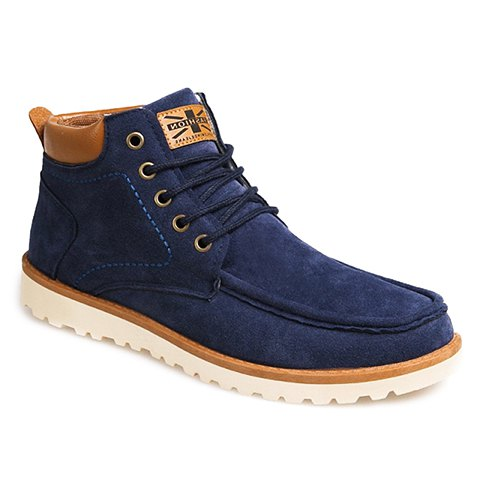 British Style Men's Casual Shoes With Flag and Suede Design