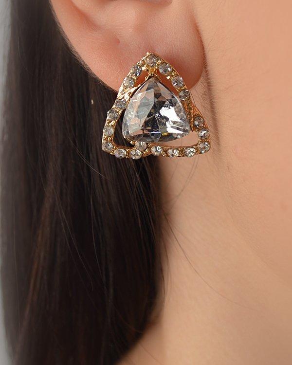 Rhinestone Studded Triangle Earring