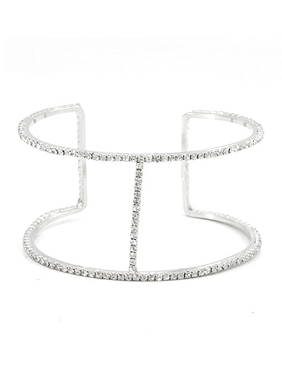 T-Silver Tone Metal Bracelet With Rhinestone Accent