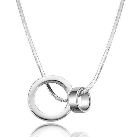 Simple Zircon Inlaid Ring Shape Pendant