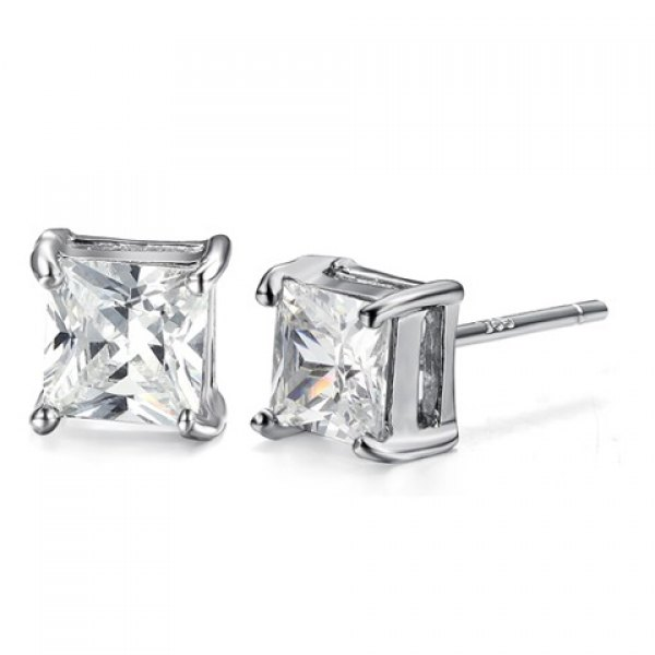 Pair of Stylish Women's Rhinestone Square Earrings
