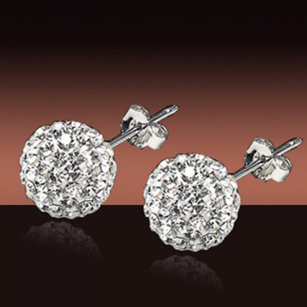 Pair of Sweet Rhinestone Ball Shape Earrings For Women