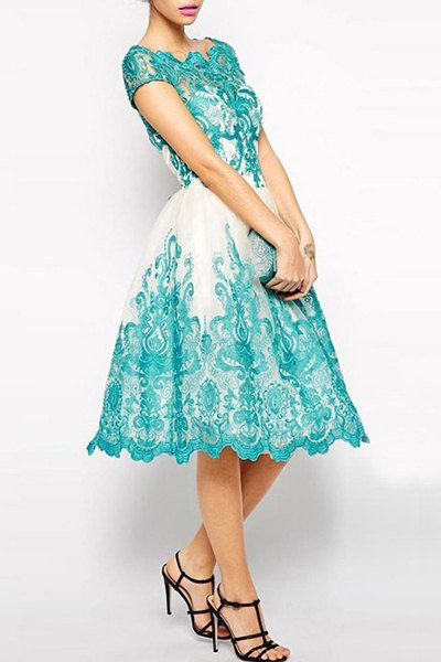 Elegant Jewel Neck Short Sleeve Hollow Out Spliced Lace Dress For Women (AZURE,XL) | Sammydress.com