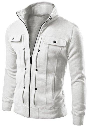 Slimming Trendy Turndown Collar Pocket and Button Design Long Sleeve Polyester Sweatshirt For Men (WHITE,L) | Sammydress.com