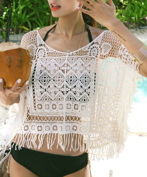 Bohemian Scoop Neck Fringed Women's Lace Blouse