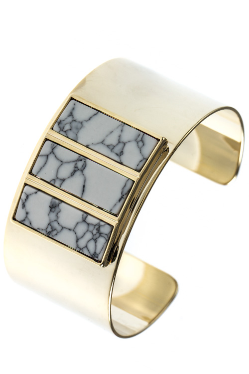 FAUX STONE BAR THICK CUFF BRACELET