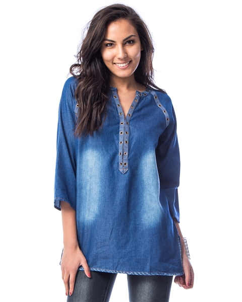 BLUE MANDARIN COLLAR RAGLAN TUNIC TOP