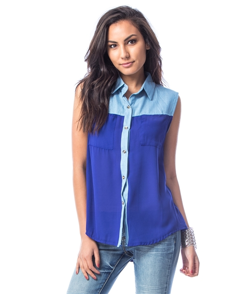 ROYAL BLUE CONTRAST BUTTON DOWN COLLAR TOP