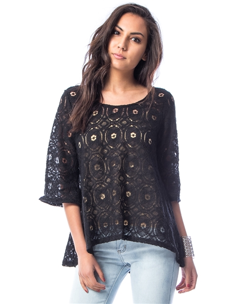 BLACK CROSSBACK TRUMPET SLEEVED BLOUSE