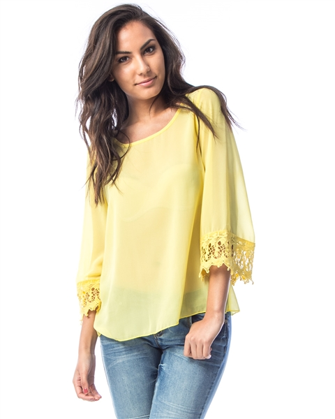 YELLOW LACE TRIM CHIFFON BLOUSE