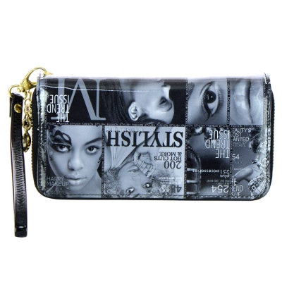 Double Zipper Magazine Print Patent Leather Wallet