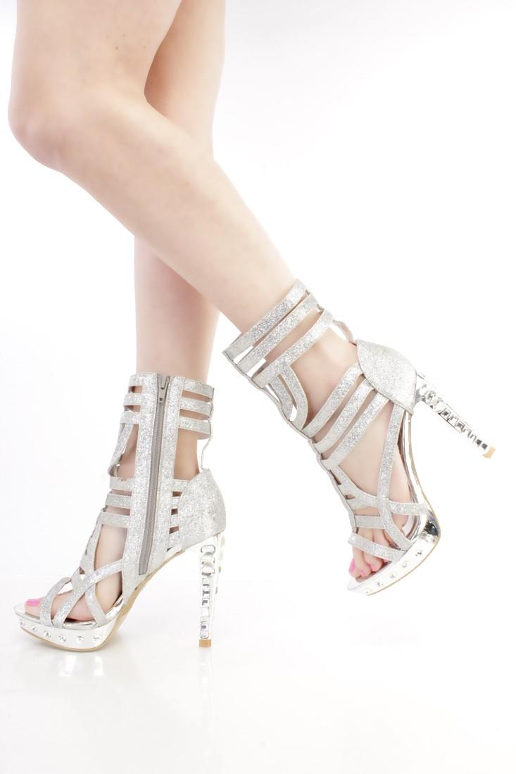 Silver Glitter Strappy Gemstone Platform Booties