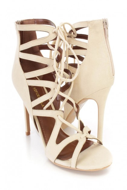 Nude Strappy Lace Up Single Sole High Heels Faux Suede