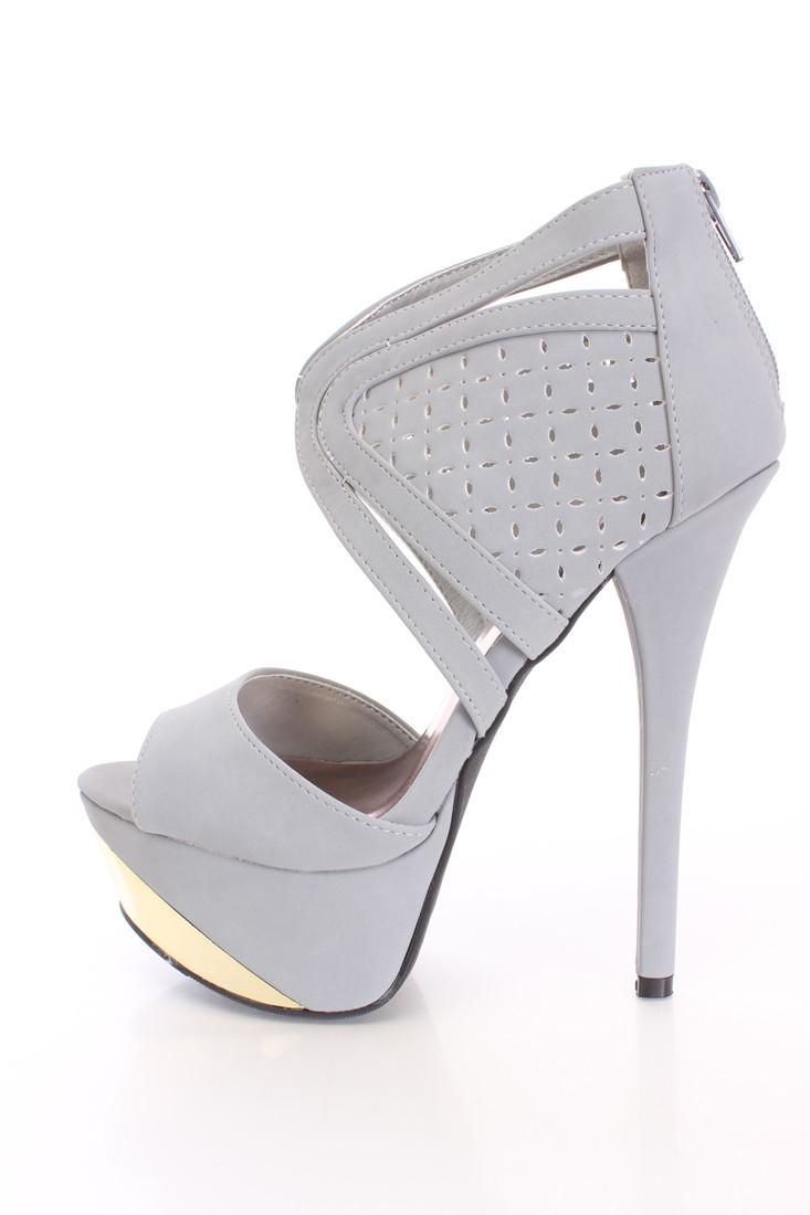 Ash Grey Peep Toe Metallic Platform Heels Nubuck