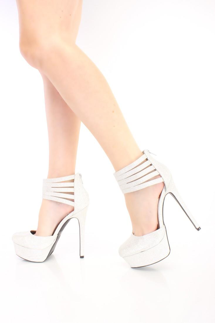 Silver Strappy Platform 6 Inch High Heels Glitter