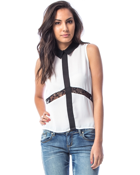 WHITE LACE CONTRAST TRIM COLLAR TOP