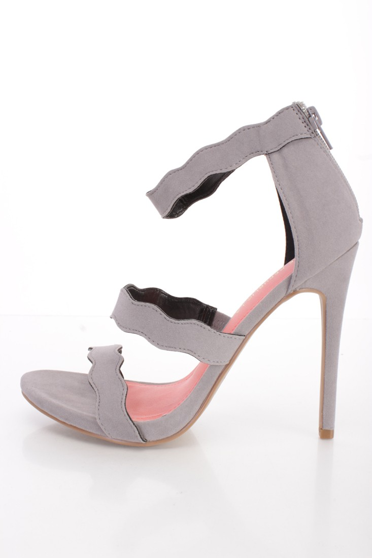 Grey Scalloped Strappy Single Sole High Heels Faux Suede