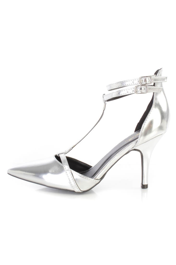 Silver T Strap Single Sole High Heels Faux Leather