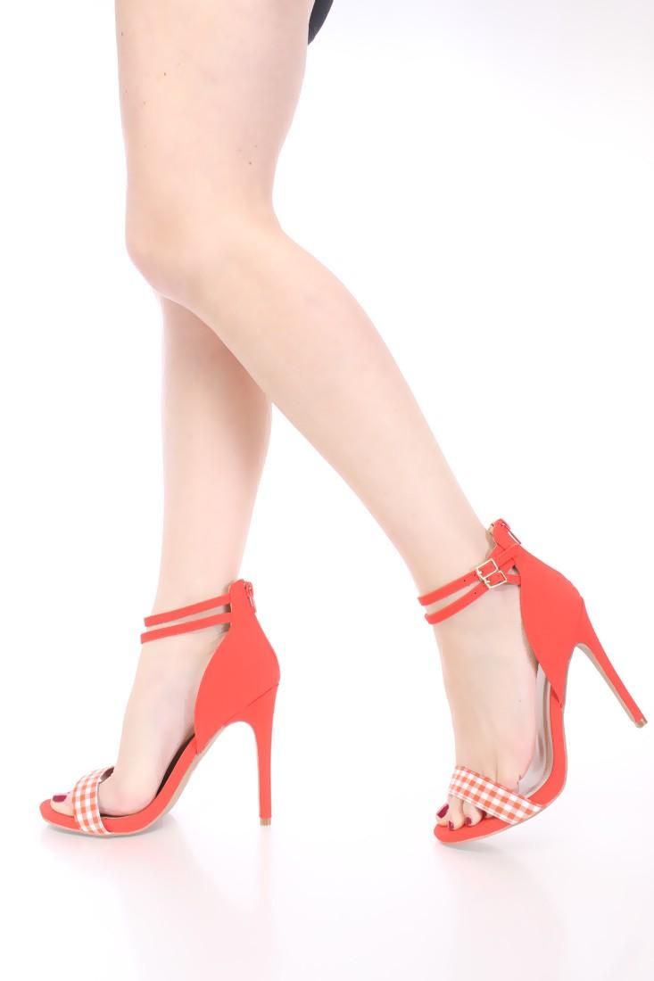 Orange White Gingham Strap High Heels Nubuck Fabric