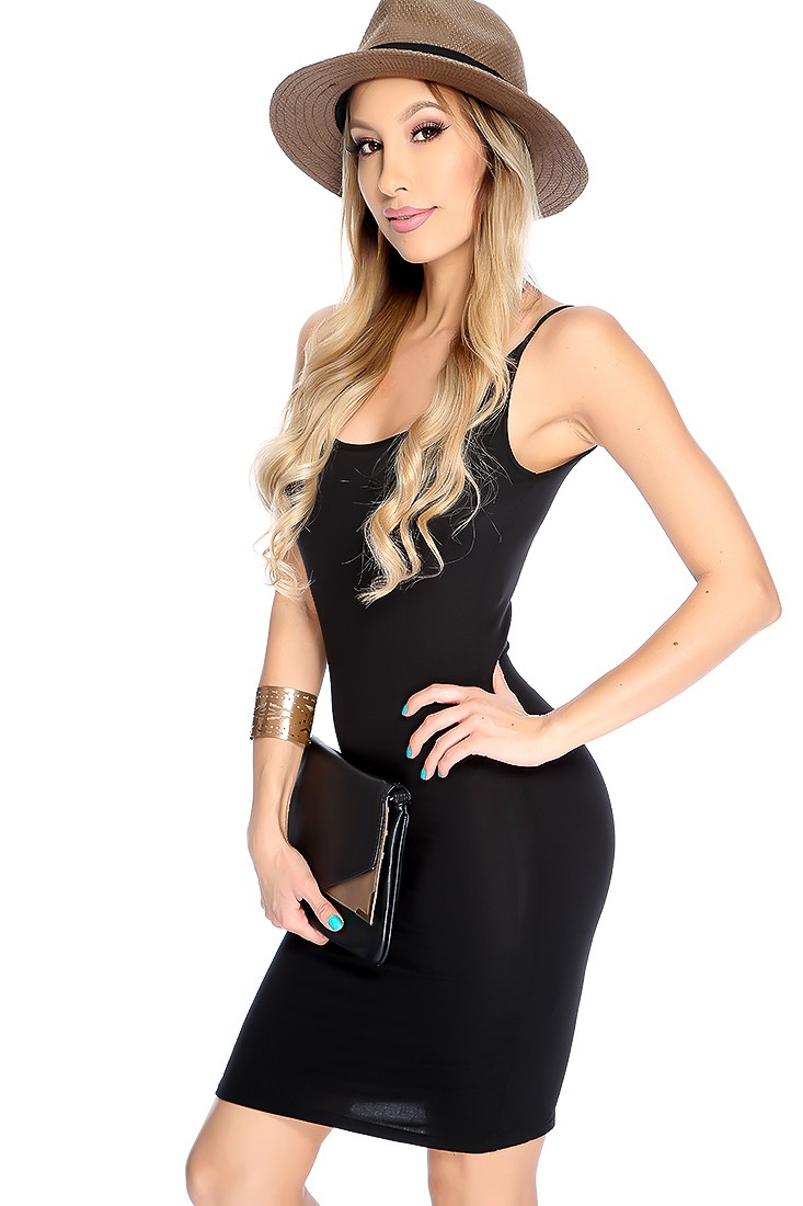 Sexy Black Sleeveless Scoop Neck Casual Dress