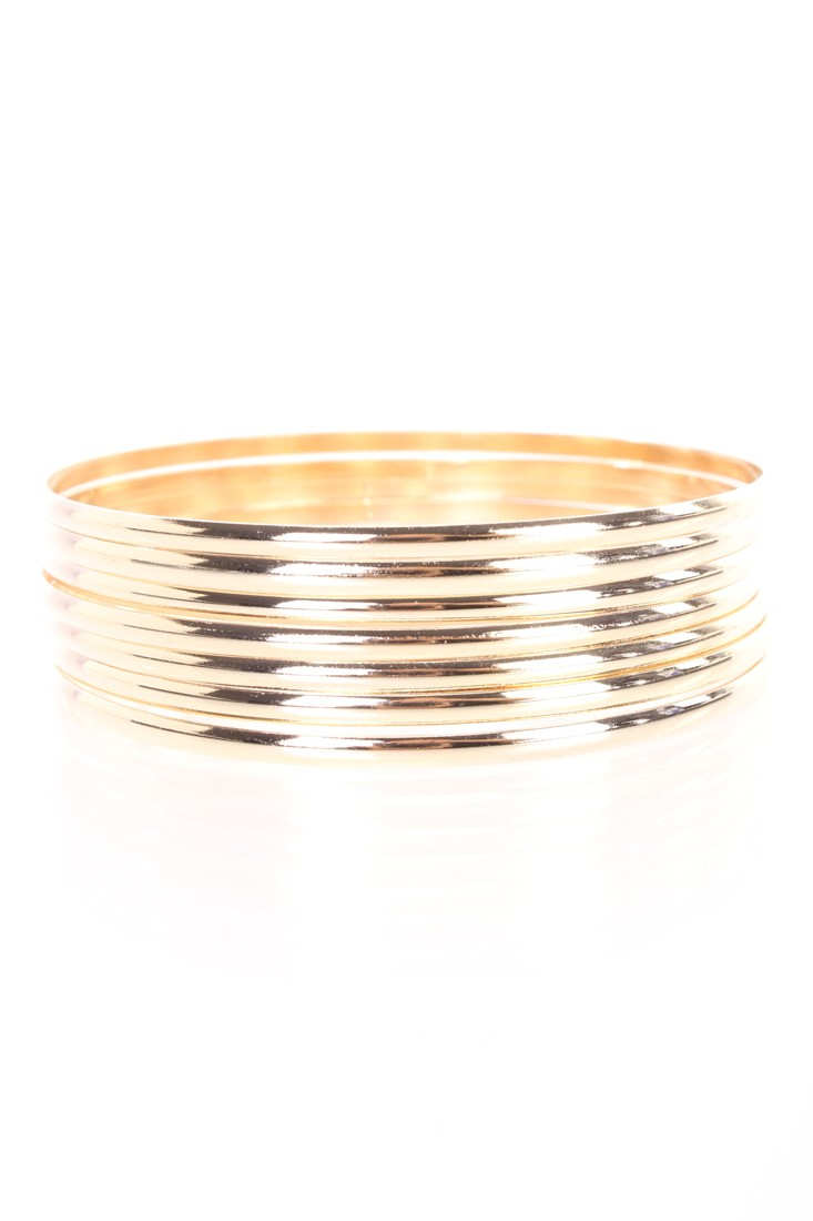 Gold High Polish Metal Bangle Bracelet Set