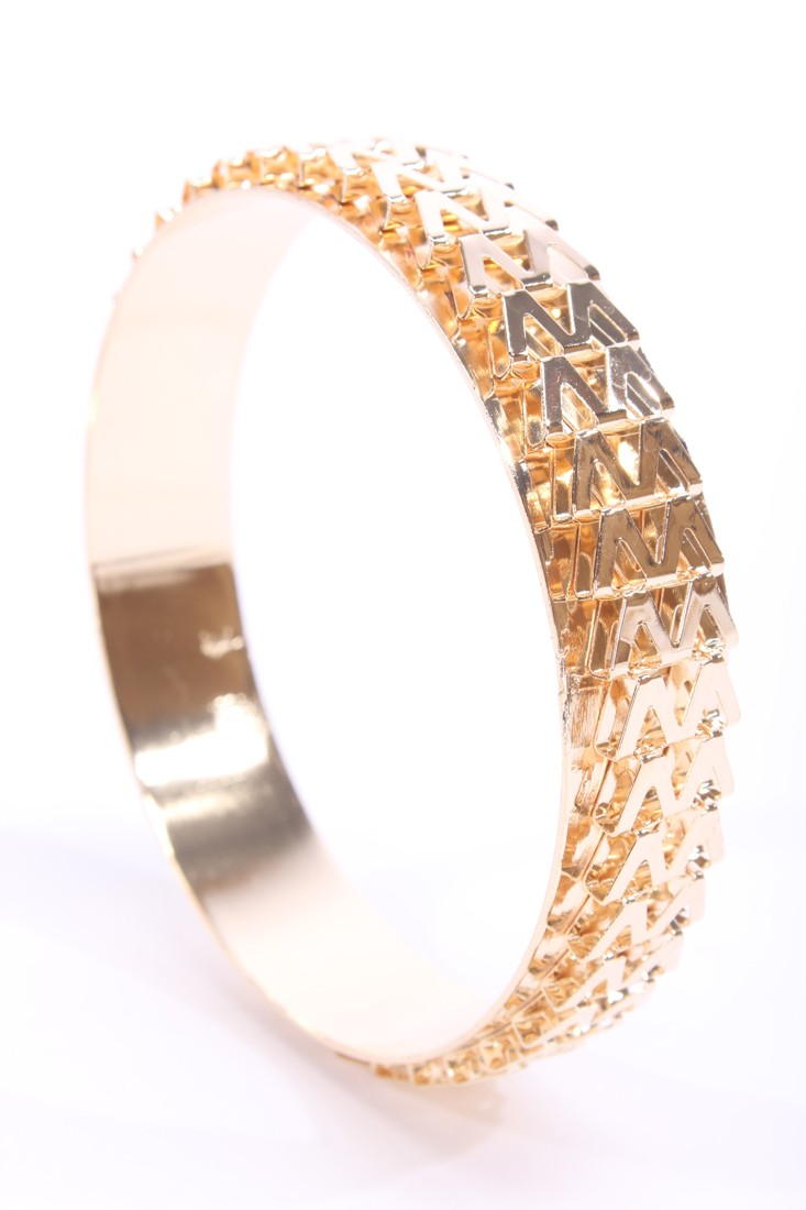 Gold Chevron Chain High Polish Bangle Bracelet