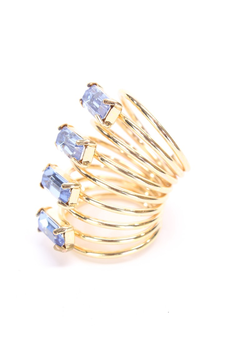 Light Blue Diamond Gemstone High Polish Spring Band Design Ring